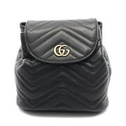 Gg Marmont Backpack Mini Razor Black Quilting 528129 Secondhand _39431