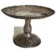 Antique And Co Floral Repousse Sterling Silver Tazza Or Cake Stand
