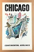 Chicago 1960 Continental Airlines Vintage Poster Stan Galli - United Era