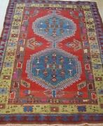 Antique Kurdish Hand Knotted Wool Tribal Oriental Rug Cleaned 4.3 X 7