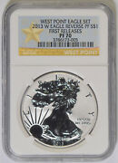 2013-w Silver Eagle Ngc Pf-70 Reverse Prf Early Rel. From West Point Set 73-005
