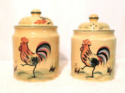 Authentic Kitchen Set Of 2 Rooster Canisters