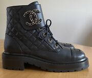 New Black Leather Quilted Cc Chain Combat Lace Up Ankle Boot Sz 37