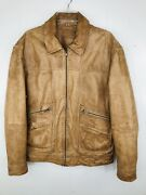 Roundtree And Yorke Men's L Tan Distressed Zip Up Leather Jacket