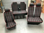 Vw T5 T6 Rock And Roll Bed Tartan Red Gas Assist Strut 2+1 Same Front Seat Set