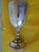 Goblet Sterling Silver Turkish C 1860 Engraved Fully Marked Antique Rare