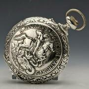 Antique Moving Works Sin Igual St. George Sculpture Silver Side Pocket Watch