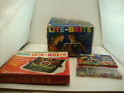 Vintage 1967 Lite Brite 5455 With Pegs Refill Kit And Action Lite Brite Tested