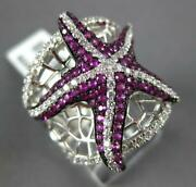 Estate Large 1.73ct Diamond And Aaa Ruby 14kt White Gold Lucky Starfish Fun Ring