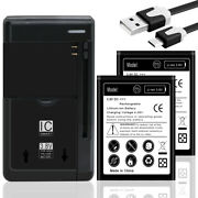 High Power 2x 3320mah Battery+universal Charger+usb Cable F Lg Optimus L70 Ms323