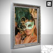 Frame Athen Mirror Frame Wood Antique Baroque Ornamental Shabby Silver 1 9/16in