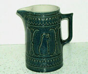 Cobalt Blue Lady With Lyre Stoneware Pitcher - Red Wing Pottery
