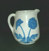 Early Blue And White Daisy Stoneware Pitcher - Brush-mccoy Pottery Ohio Oh