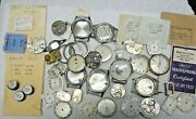 Vintage Elgin Lot Watch Movement Assorted Parts For Repair Or Parts Good Lot