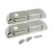For Small Block Ford Sbf 289 302 351w Finned Polished Aluminum Short Valve Cover