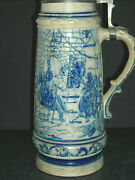 Tall Embossed Blue And Grey Whites Utica Stein Stoneware Flemish Ware New York Ny