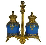 Reserved Antique French Perfume Set   2 Opaline Glass Perfume Bottles   Ormolu