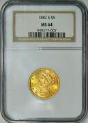 1882-s Ngc Ms64 Pq++ Liberty 5 Gold Half Eagle Outstanding Luster And Eye Appeal
