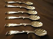 Set Of 6 Cast Tea Spoons, Georgian C.1750 English Sterling Silver Marked Antique