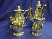 Silver Plated 4 Pieces Tea And Coffee Set Victorian Engraved Circa 1870 English