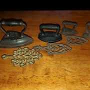 Antique Sad Flat Irons Lot Of 5 Cowing And Co - Round Oak Fast Shipping Cast Iron