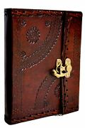 Genuine Handmade Vintage Leather Bound Journal With Lock For Men Women Large ...