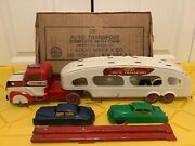 1950s Marx Deluxe Auto Transport Pressed Steel Vintage Truck Trailer Cars Ramps