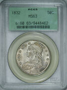 1832 Pcgs Ms63 Ogh Bust Half, Brilliant Luster, Strong Detail And Great Eye Appeal