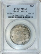 1832 Pcgs Ms63 Bust Half Decent Luster And Surfaces On This Choice Graded Piece
