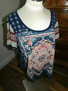 Nwt Blue Lucky Brand Womens 1x Plus Top Short Sleeve Multicolor Casual Cotton