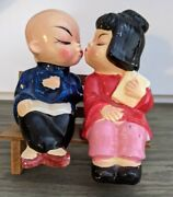Vintage Asian/oriental Boy And Girl Sitting On A Bench Salt And Pepper Shakers
