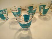 Vintage 5 Seafoam And Gold Shot Glasses With River Steam Boat In Culver Style