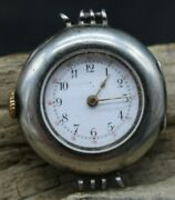 Early Antique Omega Swiss Wrist Watch .900 Silver 30mm Dia 15j For Repair R3j