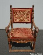 19th Century French Highly Carved Accent Chair W Rams Head Rests And Lion Finials