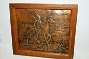 Vintage Copper Hammered Embossed Native American Indian Chief On Horse Picture