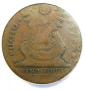 1787 Fugio Cent 1c Colonial Copper Coin - Certified Anacs Vg10 - Rare