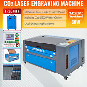 Mf1624-60 - 60w 16x24 Co2 Laser Engraver Cutter With Cw-5200 Water Chiller