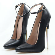 7 Inch Stiletto Studs Metal High Heels 2021 Pointed Toe Ankle Wraps Size 5-15