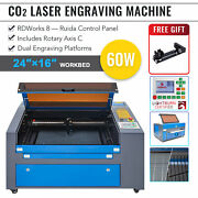 Mf1624-60 - 60w 16x24 Workbed Co2 Laser Engraver Cutter With Rotary Axis C