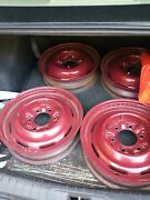 Four 6 Lug 16 X 6 Original Wheels From 1937 Chevy Master Coupe