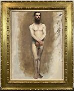 Antique 19th C. French Parisian Academic Nude Male Study Oil On Canvas C. 1885