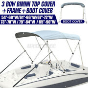 Boat 3 Bow Bimini Top Cover 6ft 54-90 Width W/ Boot And Framework Rear Pole Gray