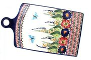 Blue Rose Polish Pottery Floral Butterfly Extra Large Cutting Board