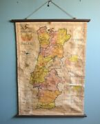 Vintage Antique Early 1937 Pull Down School Chart Wall Portugal Map 42.5 X 29