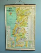 Vintage Antique Early 1941 Pull Down School Chart Wall Portugal Map 50.5x32 -e