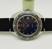 Used Vintage Large Tressa Diver 566 Dark Blue Dial Date Automatic Man's Watch