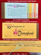 1971 Disneyland Adult A B C D E Ticket Book 5 Tickets Attached Mint Condition H7