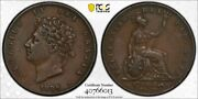 G. B. - Beautiful Historical George Iv Copper 1/2 Penny 1826 Pcgs Graded Xf 45
