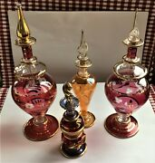 4-vintage Egyptian Hand Blown Glass Perfume Bottles W/gold Floral Cutting