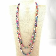 Semi Precious Stones Weathered Agate Long Knotted Necklace Women Fashion Jewelry